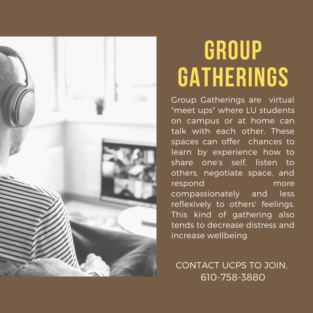 Flyer including an image of a student in a virtual meeting with the space description.