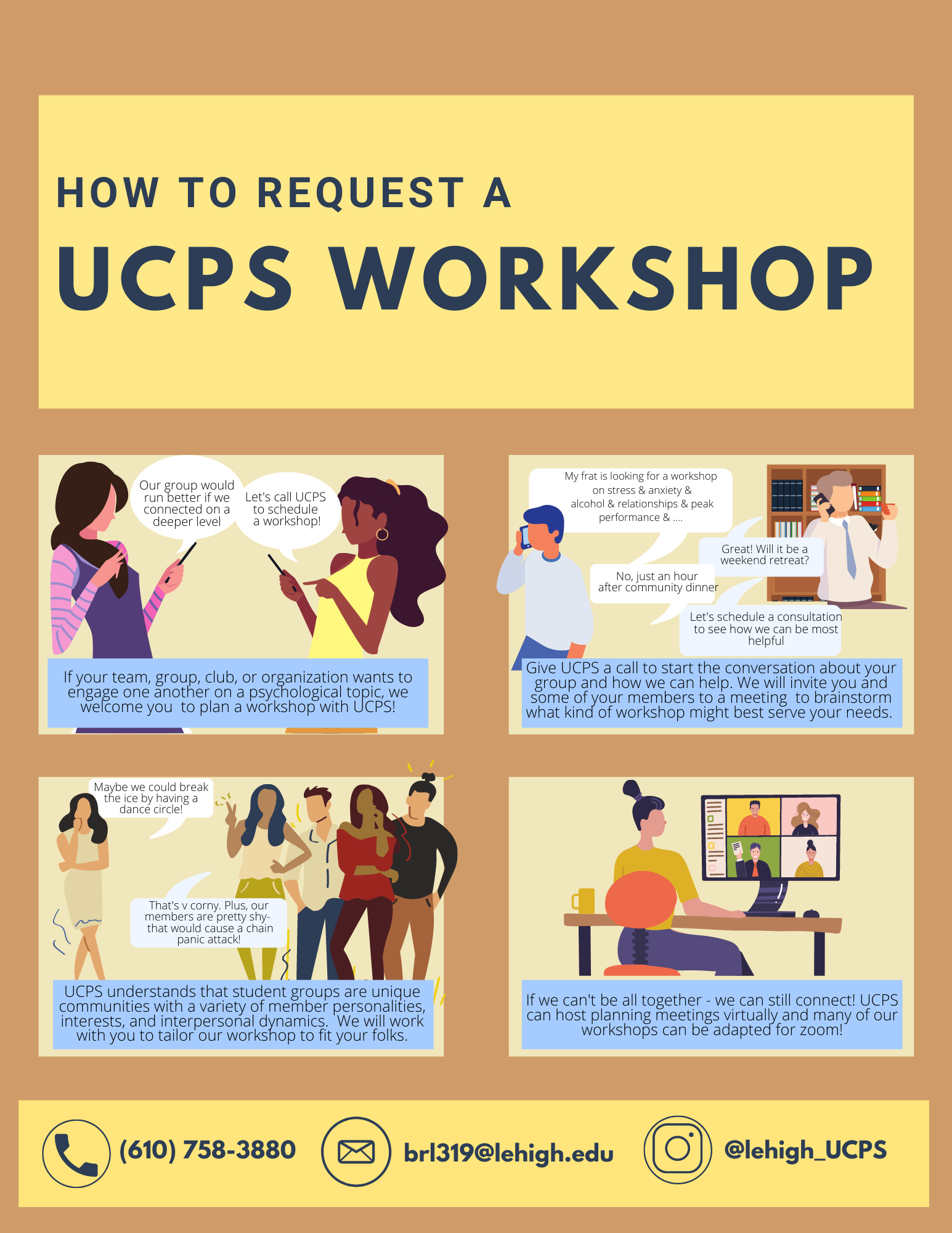 Graphic explaining how to schedule a UCPS workshop.