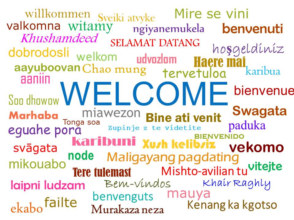 "Image of a word cloud consisting of the word ""welcome"" written in many different languages."