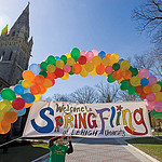 Balloon banner with Welcome Spring Fling sign