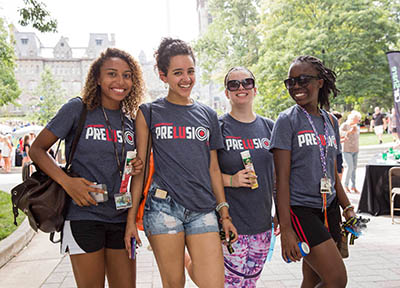 students wearing preLUsion T-Shirts on Move-in Day