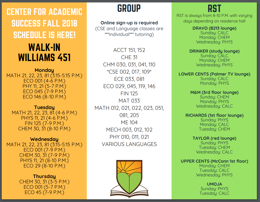 Walk-in and residential tutoring schedule and group tutoring courses