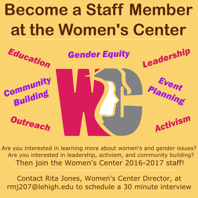 Become a staff member at the Women's Center