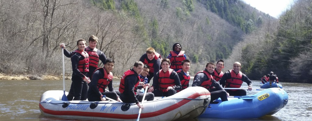 Students boating in the river