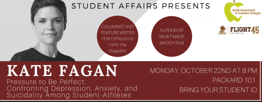 Kate Fagan to speak on 10/22/18 at 8pm at Packard 101.