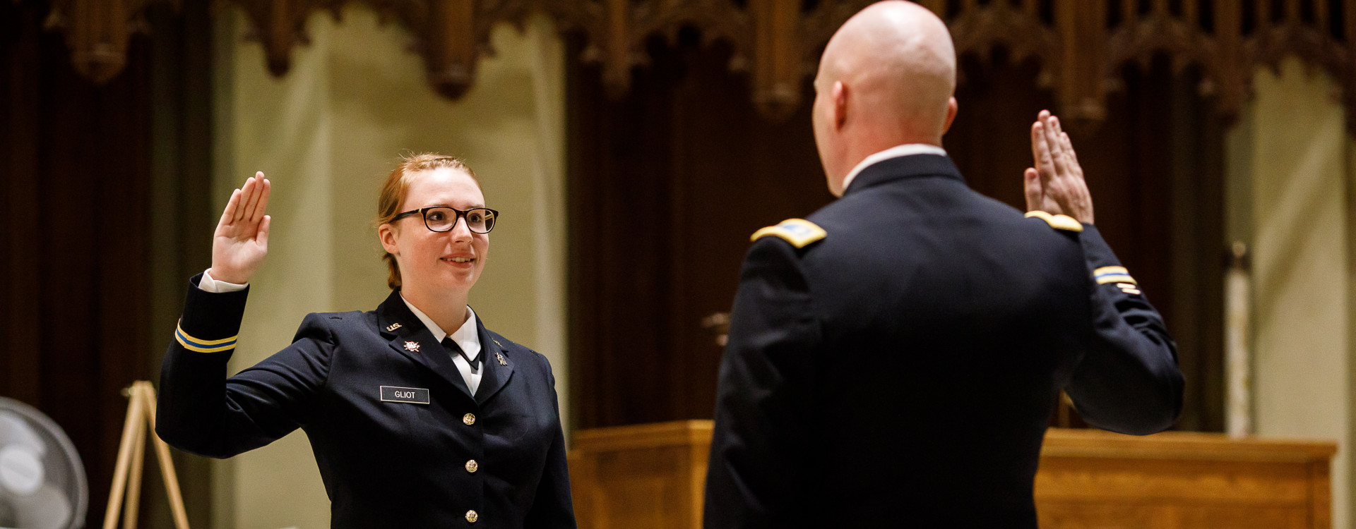 Cadet being sworn in as 2nd Lieutenant