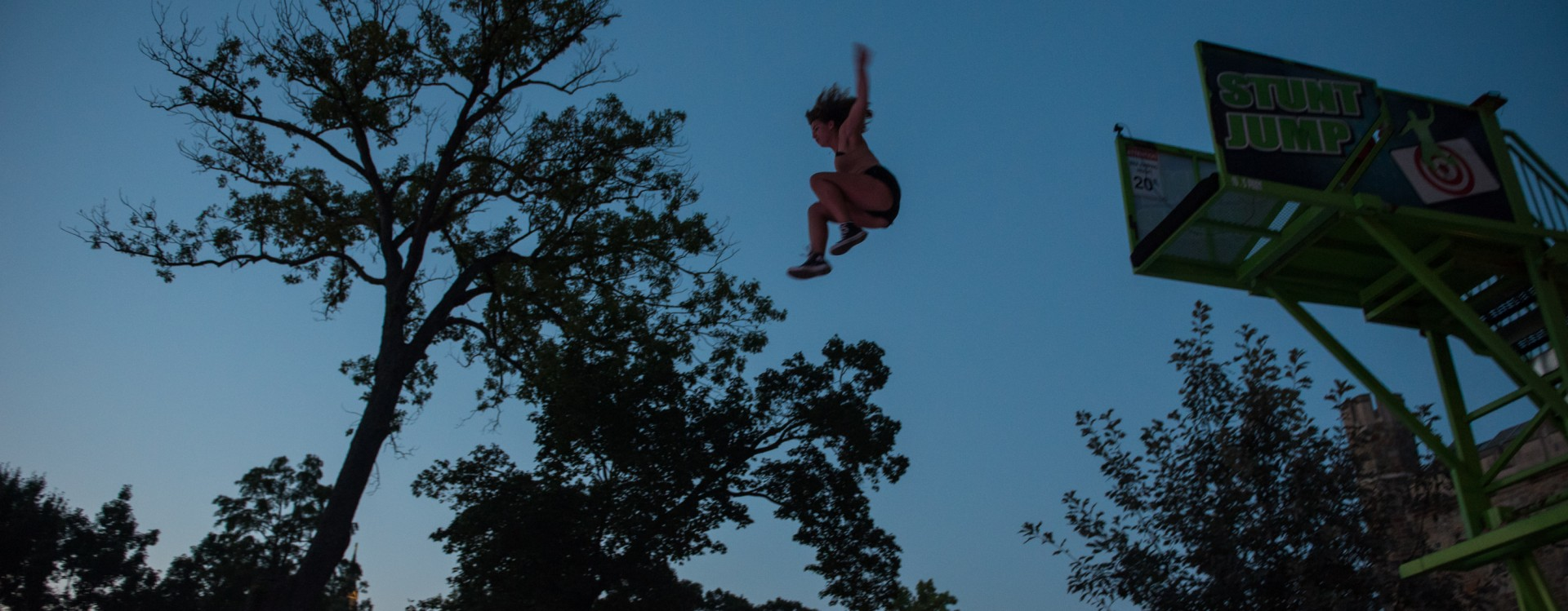 "Student trying out a stunt jump at Lehigh After Dark ""Nightvision"" event."