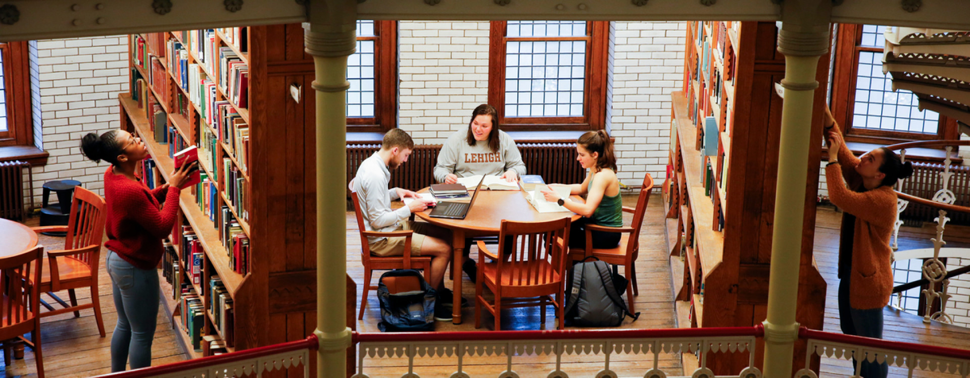 Students studying in Linderman Library