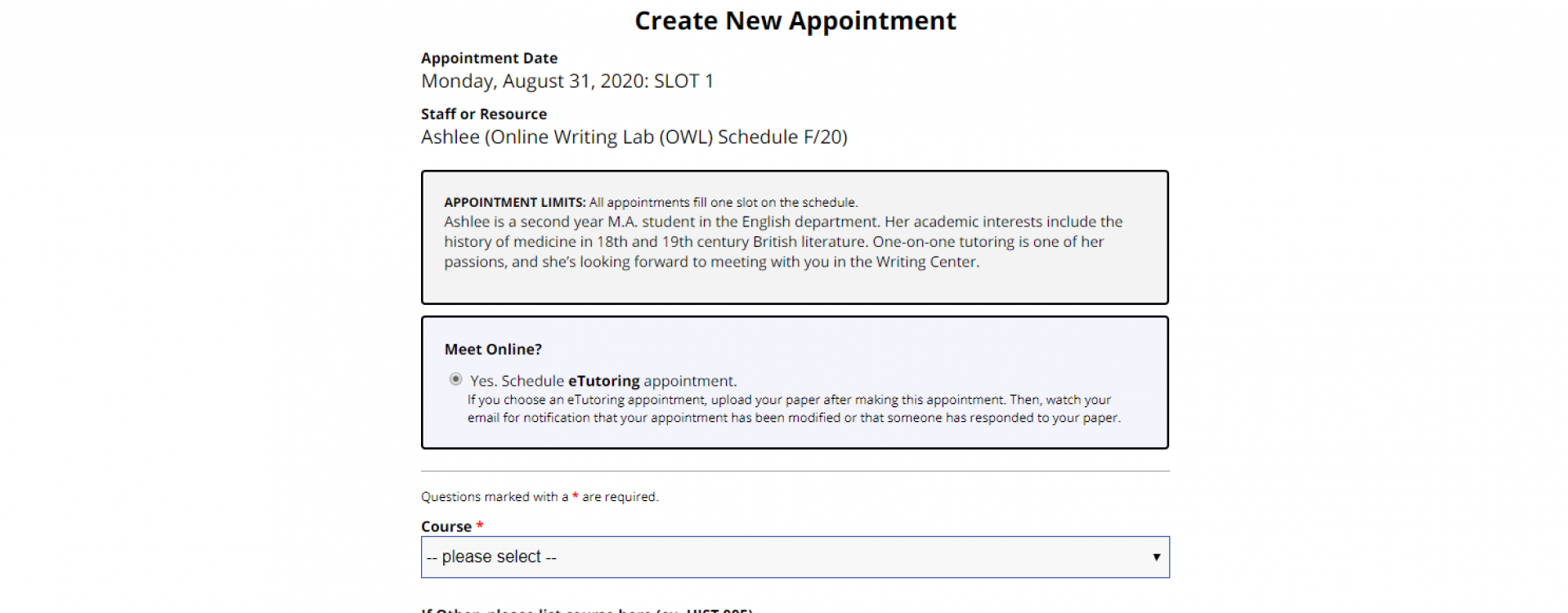 An image of the Appointment Form for the OWL Schedule.
