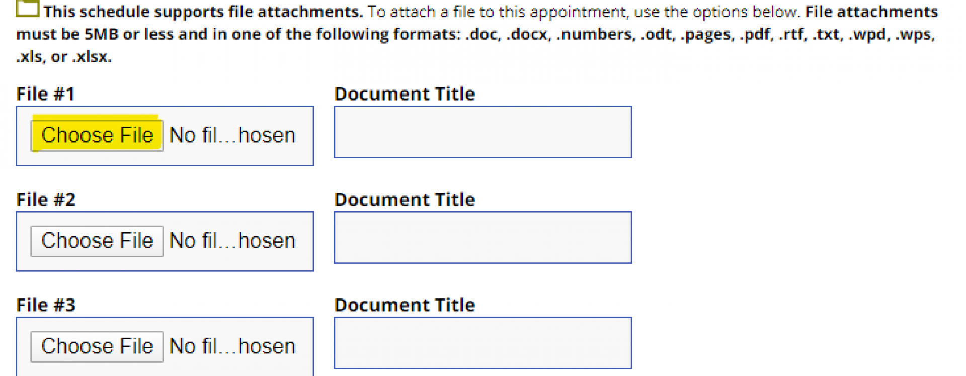 An image of where to upload files in the OWL appointment form.
