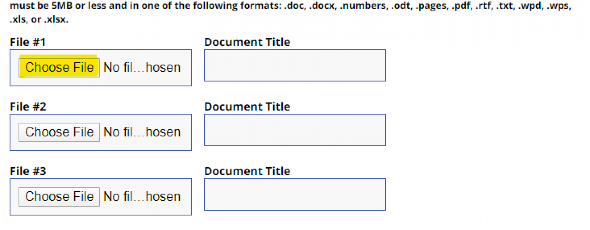An image of where to upload Forms in the Appointment Form.