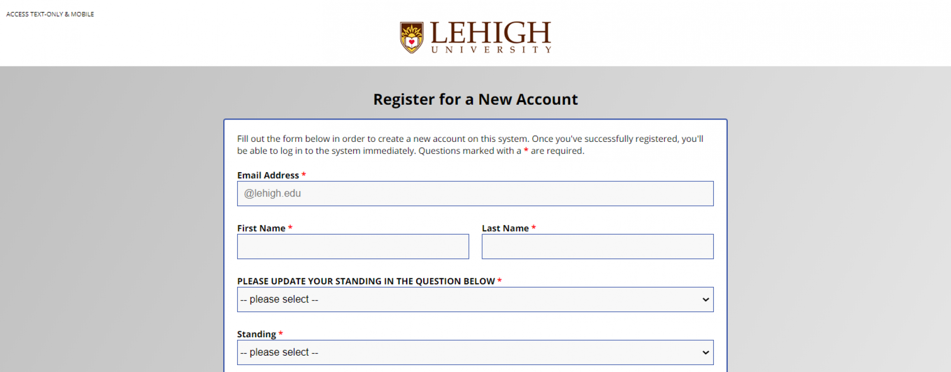 An image of the top of the registration from on WCOnline.