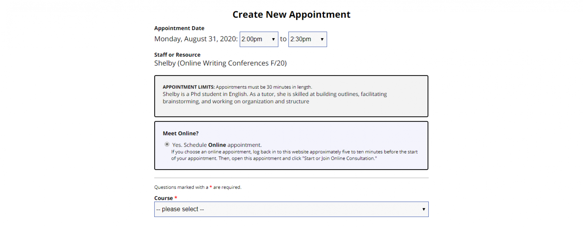 An image of the appointment form on WCOnline.