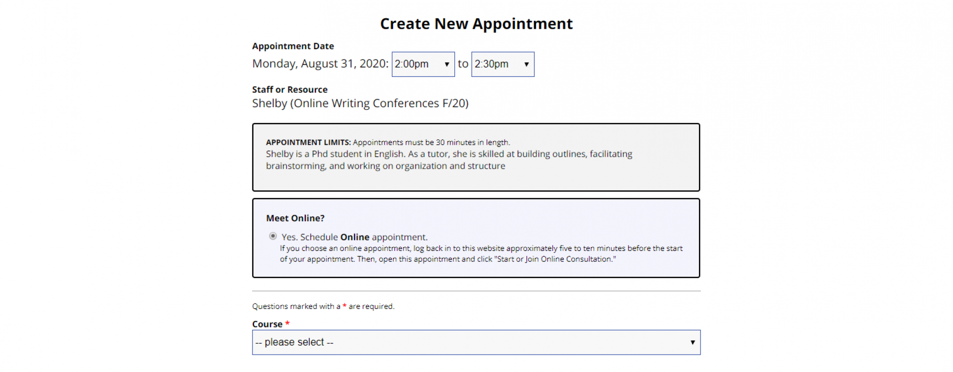 An image of an appointment form for the Online Writing Conferences Schedule.