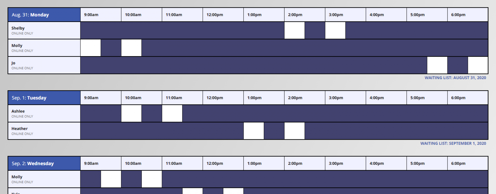 An image of the Online Writing Conferences Schedule on WCOnline.
