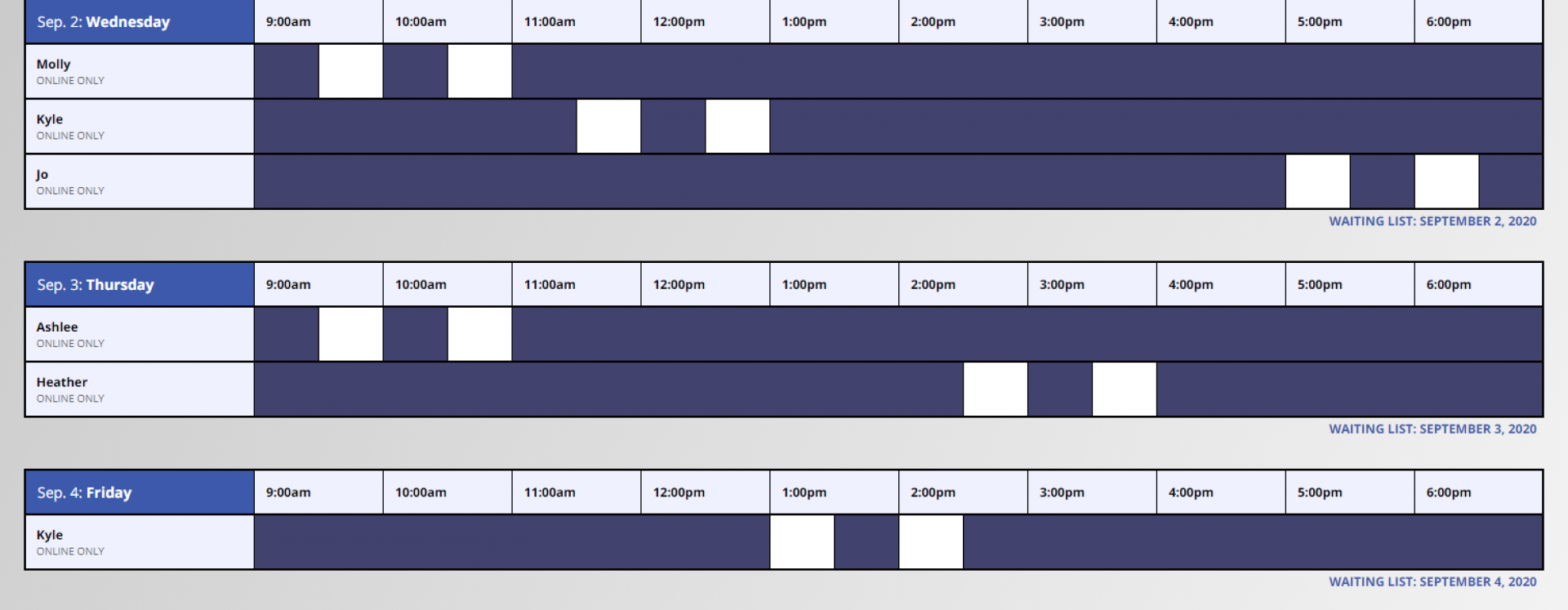 An image of the Online Writing Conference's Schedule in WCOnline.