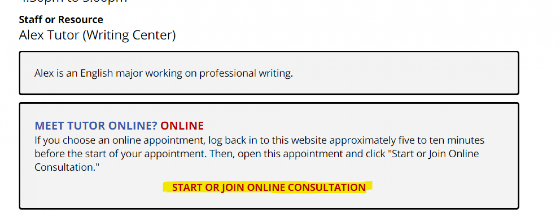"""An image demonstrating what the link to start online sessions looks like, with the text """"Start of Join Consultation"""" highlighted."""
