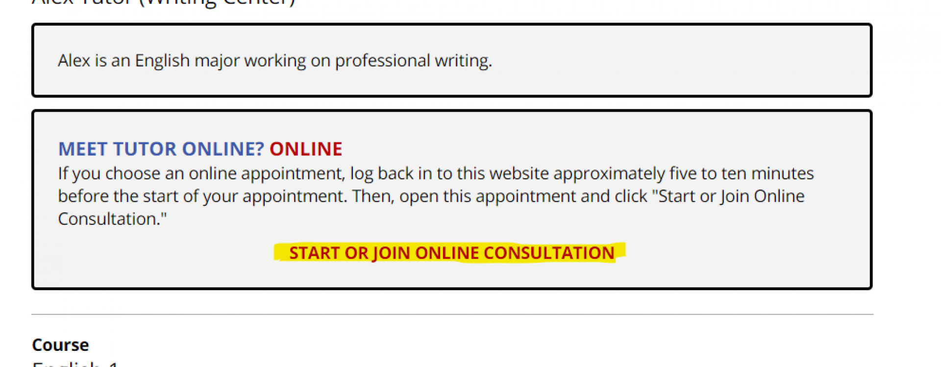 """An image of an appointment for with the link, """"Start or Join Online Consultation,"""" highlighted."""