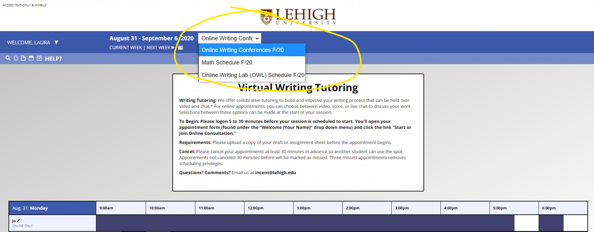An image of the drop down menu in WCOnline to select a new schedule.