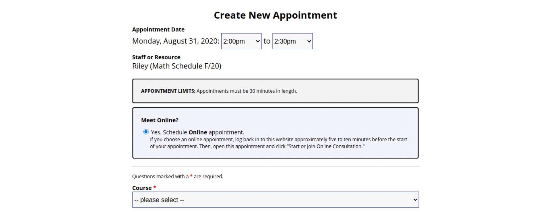 An image of the top of a math appointment form in WCOnline.