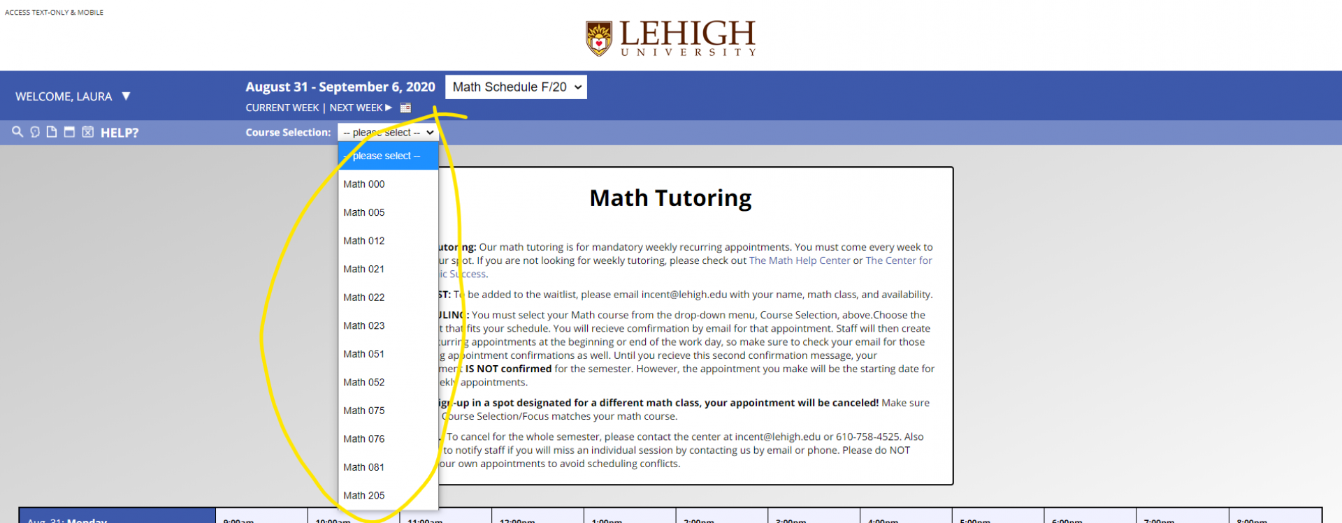 An image of the drop down menu in WCOnline that displays the appointments available for the particular math class a student wishes to be tutored for.