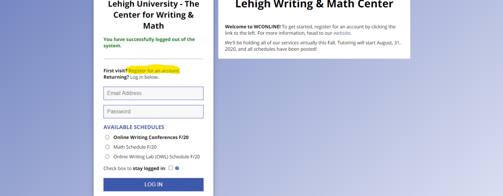 An image of the login screen for the Writing and Math Centers WCOnline.