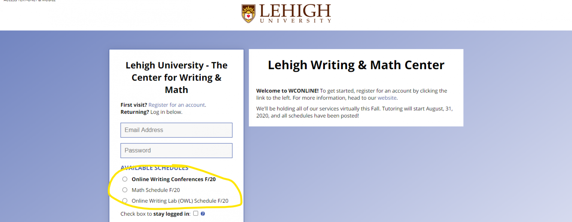 An image of the WCOnline login screen with the schedule selection circled in yellow.